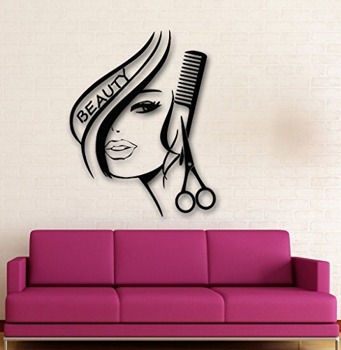 Traditionellen Stil Vinyl (NEU arrived Removbale Wand Aufkleber Vinyl Decor Hair Beauty Salon frisiersalons Sexy Girl Wand Aufkleber Home Dekoration)