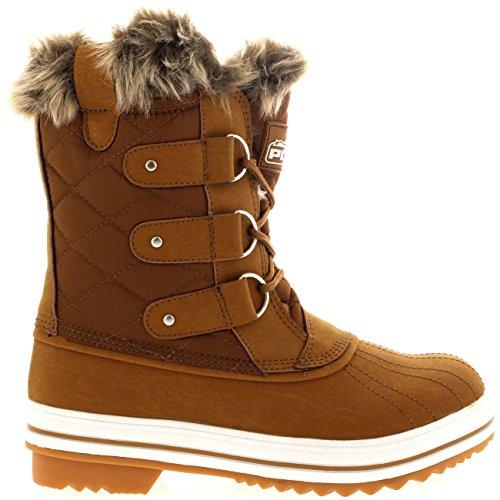 Damen Schnee Stiefel Nylon Short Schnee Pelz Regen Wasserdicht Stiefel Bräune