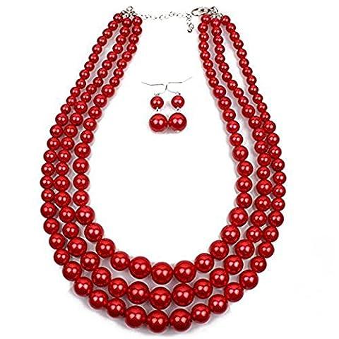 Collier Longue Perle Forme Chaîne de Chandail (rouge)