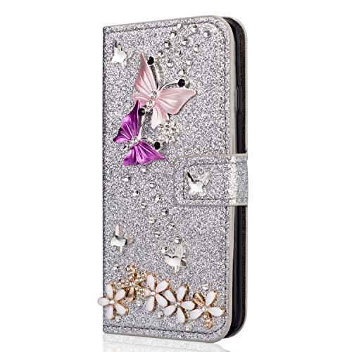 Miagon Hülle Glitzer für Huawei P30 Pro,Luxus Diamant Strass Schmetterling Blume PU Leder Handyhülle Ständer Funktion Schutzhülle Brieftasche Cover,Silber