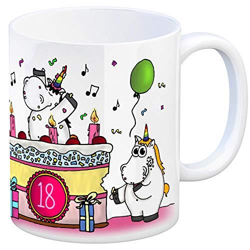 Honeycorns Kaffeebecher mit Einhorn Geburtstagsparty Motiv zum 18. Geburtstag Tasse Kaffeetasse Becher mug Teetasse Büro Unicorn Einhorngeschenk lustig witzig Spruch Einhorntasse kuscheln niedlich