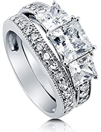 BERRICLE Rhodium Plated Sterling Silver Princess Cut Cubic Zirconia CZ 3-Stone Engagement Ring Set