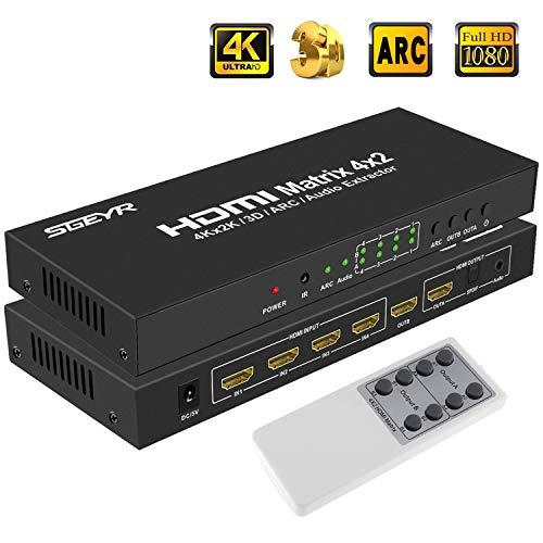SGEYR 4x2 HDMI Matrix Umschalter 4 Port True Matrix Switcher Splitter 4 In 2 mit IR Fernbedienung|Optisch SPDIF Toslink 3.5mm Audio Extractor|ARC|Unterstützung 4K 30Hz UHD 3D 1080P 4 X Audio -