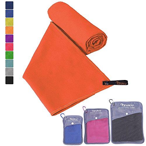 Mikrofaser Handtücher in 7 Größen/ 10 Farben ultraleicht, super saugfähig und schnelltrocknend IZUKU® Handtuch Mikrofaser antibakteriell und schmutzabweisend mit Tragetasche als Geschenk 100x200cm Orange