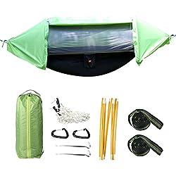 Hamac suspendu d'extérieur 3en 1 contre la pluie camping hamac abri avec filet anti moustique, tente bâche imperméable ensemble hamac vert portable