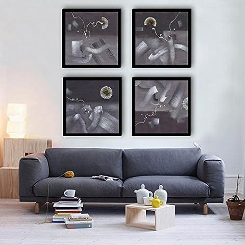 Modylee Resumen elementos enmarcado lona Videos pinturas decorativas de salón dormitorio PC 4 Cuadro en Lienzo , 40*40*4
