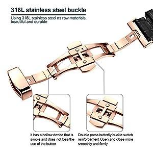Cinturino orologio jiexima in pelle di vitello con fibbia oro rosa (18 mm, nero)