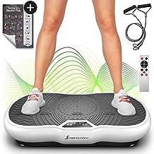 Sportstech Pedana Vibrante VP200 con Bluetooth, Tecnologia innovativa di Oscillazione e Vibrazione per l'utilizzo a casa, Poster di Allenamento, 2 Elastici, Telecomando e Altoparlante nel Dispositivo