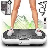 Sportstech Plateforme vibrante VP200 Technologie Oscillation Bluetooth, Affiche Incluse, Sangles Cordes de Traction télécommande, Haut-parleurs intégrés + Massage (Blanc) (Reconditionné)