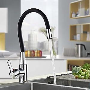 AuraLum Grifo de Cocina Flexible Negro, Monomando Grifo de Fregadero Libremente Orientable con Agua Suave Aireador…