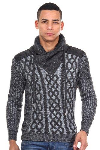 R-NEAL Pullover Schalkragen slim fit Anthrazit