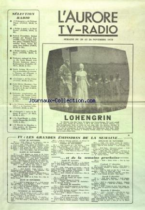 AURORE TV RADIO (L') du 20/11/1978 - LOHENGRIN DE WAGNER - LES GRANDES EMISSIONS DE LA SEMAINE - SELECTION RADIO