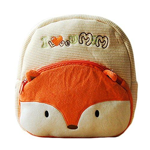 super süß Babyrucksack mit niedliche 3D TierchenMuster, weich Rucksack, Softrucksack, Kindergartenrucksack Kindergartentasche, Schultasche Kinder (Fox)