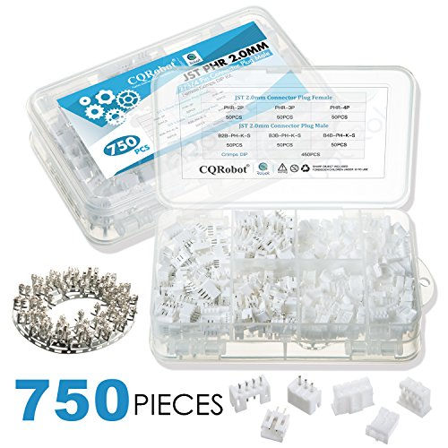 CQRobot 750 Pieces 2.0mm JST-PHR JST Connector Kit. 2.0mm Pitch Female Pin Header, JST PH - 2/3/4 Pin Housing JST Adapter Cable Connector Socket Male and Female, Crimp Dip Kit. (Crimp Female Connector)