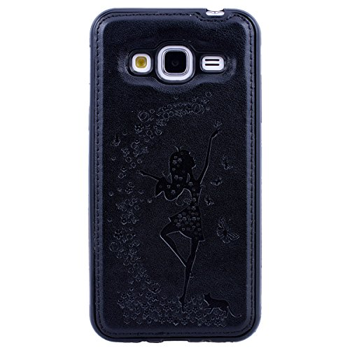 Yokata Détachable Coque Samsung Galaxy J3 2016 / 2015 Housse de Protection Motif Fille Fleur Papillon Étui Housse en Cuir PU Fente Carte Leather Wallet Case de Carte Slots Flip Cover Fermeture Magneiq Noir