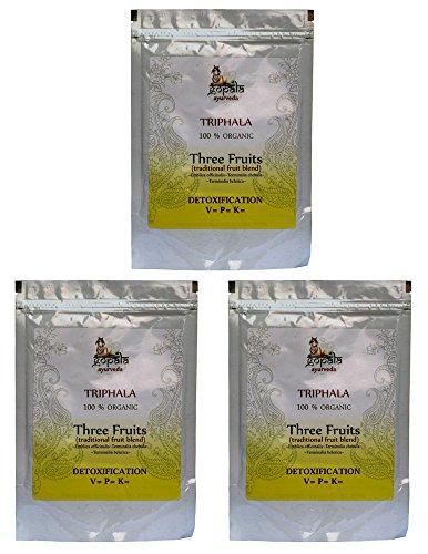 Bio TRIPHALA Pulver (250g - 3er pack) Emblica officinalis~Terminalia chebula~Terminalia belerica - 100{0eddaead0cf93583e9d60c3d93fef8808836dc75b3acbdcbe5355585495e9a21} Bio-zertifiziertes pflanzliches Nahrungsergänzungsmittel der Lacon GmbH