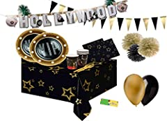Idea Regalo - bo-land Kit n 54 VIP Party Coordinato tavola Festa Evento Oscar Cinema Star