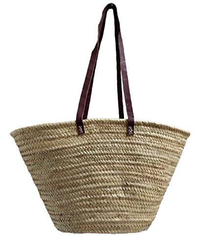 Capazo de Palma básico, con asas larga de cuero curtido estilo rústico. Cesto o Bolso de mimbre para la playa, fibras naturales. (10V, aprox. 51x31 cm)