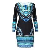 Yogogo Frauen Traditionelle afrikanische Druck Dashiki Bodycon Sexy Langarm Kleid (L)