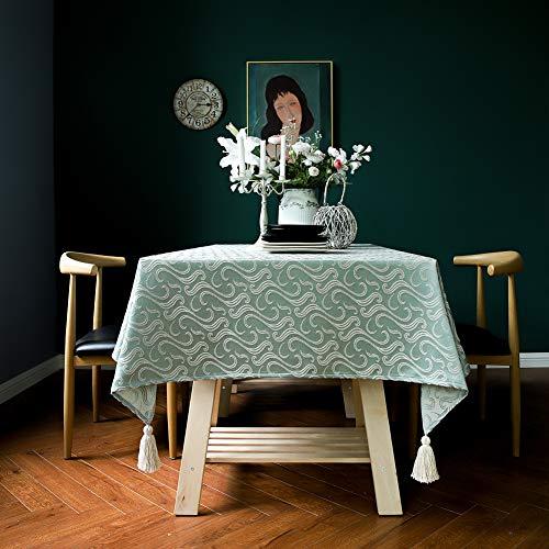 Tischtuch 120 x 215 cm Moderne Tischdecke, Waschbare Anti Falten Hitzebeständig Feuchtigkeitsbeständig, Cafe,Party oder,Buffettisch - Grün