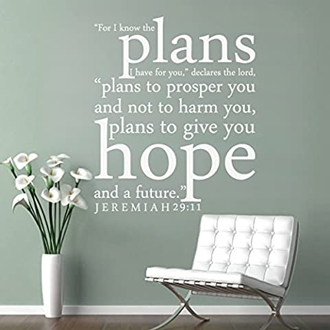 For I Know the Plans I Have For You Custom Vinyl Wall Decal Quote Bible Verse Wall Sticker For Family£¨Small,White£© by WallsUp