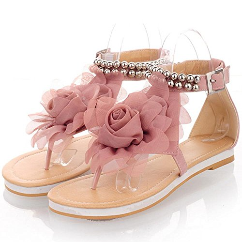 COOLCEPT Femmes Big Fleur Bout rond Tongs Appartements Sandales Confortable Design Bout ouvert Sandales 538 Rose