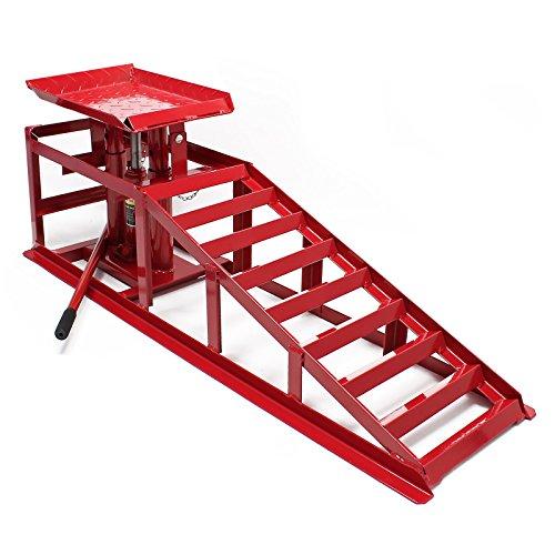 Rampa di sollevamento con cric idraulico 2000kg altezza regolabile Larghezza ruota max 225 mm