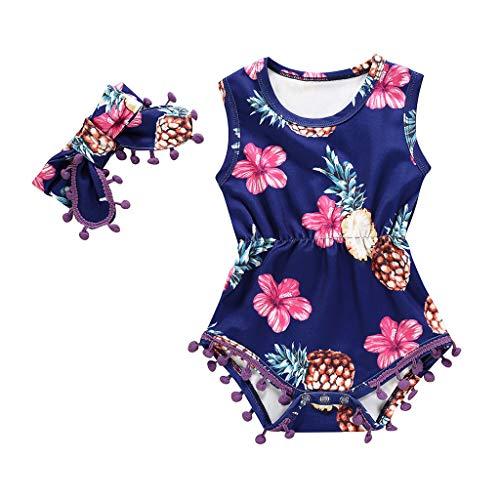 Pwtchenty Bekleidung 2 Stück Kleinkind Baby Strampler + Haarband Set Kind Mädchen Outfits Kleider Blumen Sommerkleidung Chiffon Strampler Spielanzug Kleidungs Outfits Set