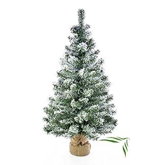 artplants.de Árbol de Navidad Artificial Reykjavik en un Saco marrón Decorativo, nevado, 100 Ramas, 75cm, Ø 27cm – Abeto navideño – Adorno Mediano