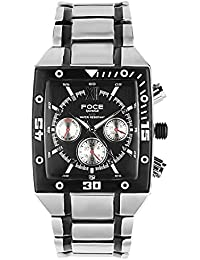 FOCE Silver & Black Square Analog Wrist Watch for Men with Silver::Black Metal Strap - F801GBM-BLACK