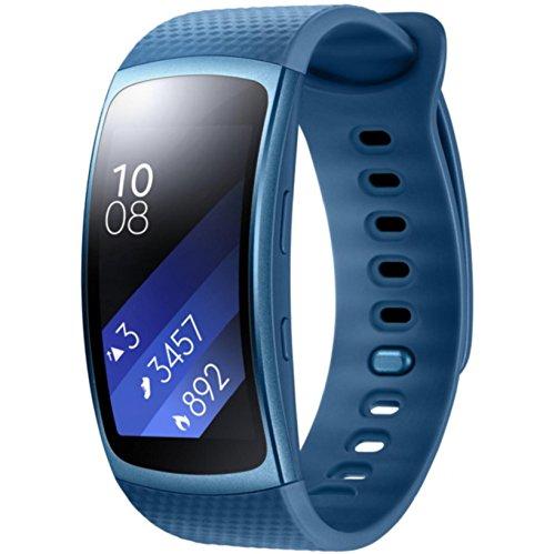 Samsung Gear Fit2 Smartwatch Aktivitätstracker mit Pulsmesser, Größe L - Blau