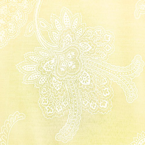 Nimsay Home Victorian Cotton Rich Soft Fil-a-Fil Lace Floral Bed Duvet Cover Pillowcase Set – Single – Yellow