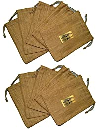 All Naturals Jute Sacks (8 Inches X 10 Inches) With Jute Drawstring For Gifting & Storage (Pack Of 10)