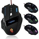 WINWINTOM 3200 DPI 6D LED USB óptico con cable juego del juego de los ratones del ratón para PC portátil