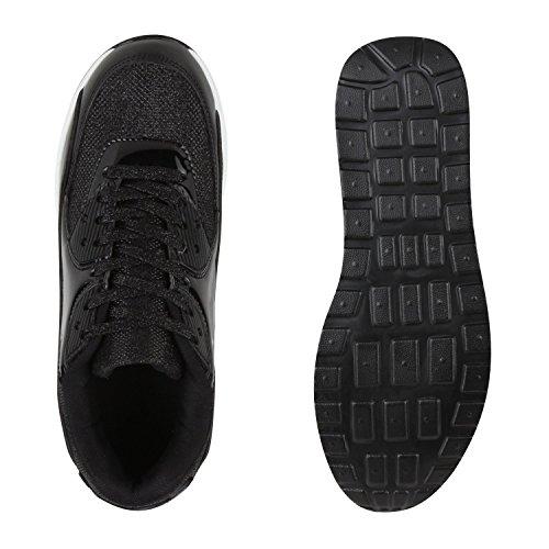 Knallige Damen Herren Unisex Sportschuhe | Auffällige Neon-Sneakers | Sportlicher Eyecatcher für Ihren Alltags-Look | Angenehmer Tragekomfort | Gr. 36-45 Schwarz Lack