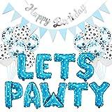 23PCS Kit decorazione festa per cani,Palloncini per Feste Cane da Decorazione Festa di Compleanno con Foglio di Alluminio Palloncino Tirare la Bandiera Happy Birthday