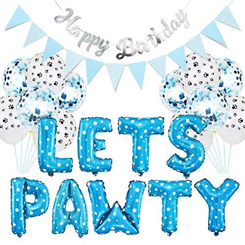 Dekor für Hund Katze, 23 Teile/Satz Party Dekor Kits, Luftballons Geburtstag Banner Partei Liefert für Hund Katze Haustiere Liefert (Color : Blau) ()