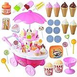 39pcs scherzen Pretend Play Toy Set, Mini simuliert Süßigkeiten Schubkarre Eis Shop, Spielhaus Spielzeug