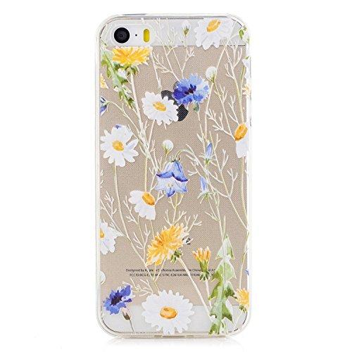 hone 5S Handyhülle, iPhone 5 Case, CXTcase Liquid Crystal Soft TPU Schutzhülle Back-Hülle durchsichtige Silikon Hülle für Apple iPhone 5 5S SE, Schöne Blume Case (Iphone 5 Case Blumen)