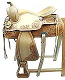Baumloser Westernsattel DAKOTA aus Büffelleder Full Quarter, Größe:16 Zoll