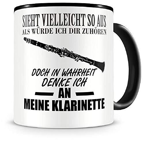 Samunshi® Ich denke an meine Klarinette Musik Instrument Tasse Kaffeetasse Teetasse Kaffeepott Kaffeebecher Becher Klarinette