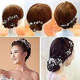 BESTVECH Bridal Bridesmaid Pearl Flower Headpiece Hair Pin Set of 6 Pieces
