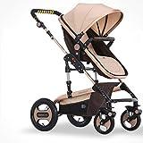 Anna Système de voyage pour poussette bébé Le chariot bébé peut être assis Chariot élévateur à quatre roues à haute pression Super chariot bébé à deux voies super large Poussette réglable pour poussette