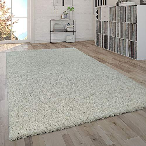Paco Home Shaggy Teppich Hochflor Flauschig Wohnzimmer Uni In Versch. Farben & Größen, Farbe:Ivory (Creme), Grösse:200x280 cm