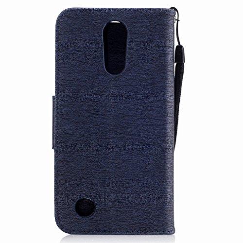 Yiizy LG K10 (2017) / X400 / M250N Custodia Cover, Fiore Di Farfalla Design Sottile Flip Portafoglio PU Pelle Cuoio Copertura Shell Case Slot Schede Cavalletto Stile Libro Bumper Protettivo Borsa (Blu Blu Profondo