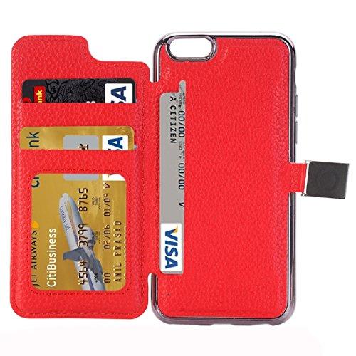 Phone case & Hülle Für iPhone 6 / 6s, Litchi Texture Horizontale Flip Leder Tasche mit Halter & Card Slots ( Color : Black ) Red