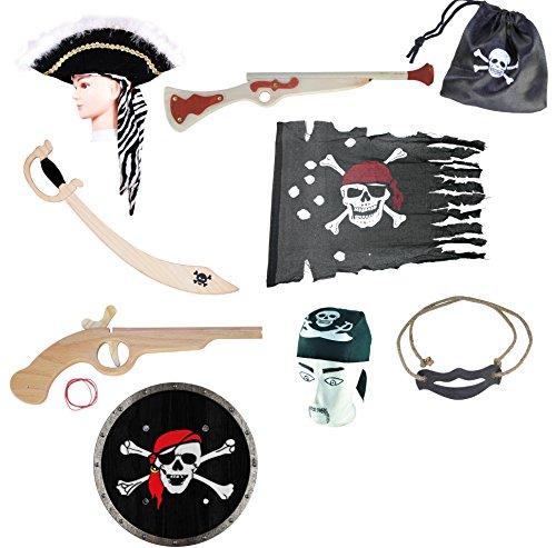 Großes Piratenset, Pirat Captain Hut, Piratenkopftuch, Piratenflagge rustikal, Piratensäbel m. Totenkopf, Piratengewehr, Piratenpistole, Rundschild Pirat, Piratenbeutel, Schwerthalter aus Hanfseil (Rustikale Piraten Kostüme)