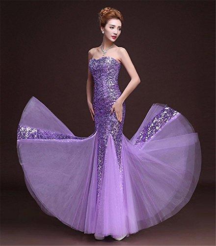 Drasawee Damen Schlauch Kleid Violett