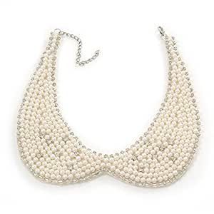 White Simulated Pearl Clear Crystal Felt Peter Pan Collar Necklace In Silver Plating - 28cm Length/ 7cm Extension