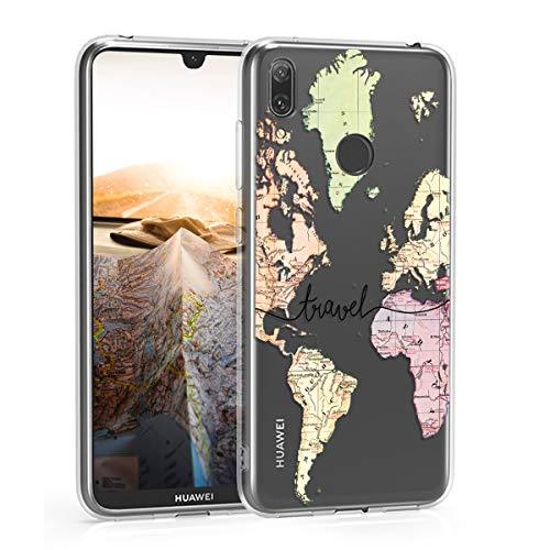 kwmobile Huawei Y7 (2019) / Y7 Prime (2019) Hülle - Handyhülle für Huawei Y7 (2019) / Y7 Prime (2019) - Handy Case in Travel Schriftzug Design Schwarz Mehrfarbig Transparent